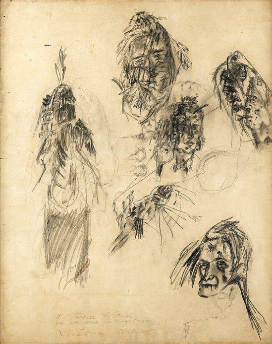 Antonin Artaud. Dédicacé à Florence la Pauvre qui elle aussi se révoltera 1948 Je me souviens de ce dessin quand j'étais aux beaux arts une nuit...