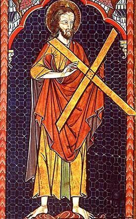 """La cruz de San Andrés o decussata tiene forma de aspa imitando a la letra """"X"""". La leyenda cuenta que el santo suplico que no fuera crucificado en la clásica cruz latina, debido a que no se consideraba digno de morir como lo hizo Jesús. Se ha convertido en símbolo de resistencia ante las adversidades."""