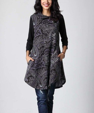 Love this Charcoal Floral Shawl Neck Tunic on #zulily! #zulilyfinds