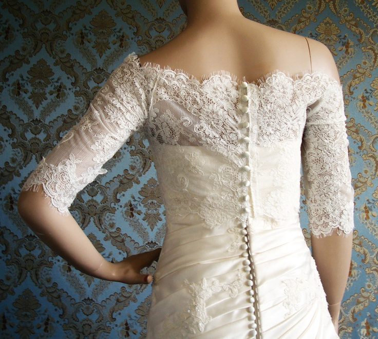Designer off shoulder eyelash lace bridal bolero jacket for Designer bolero