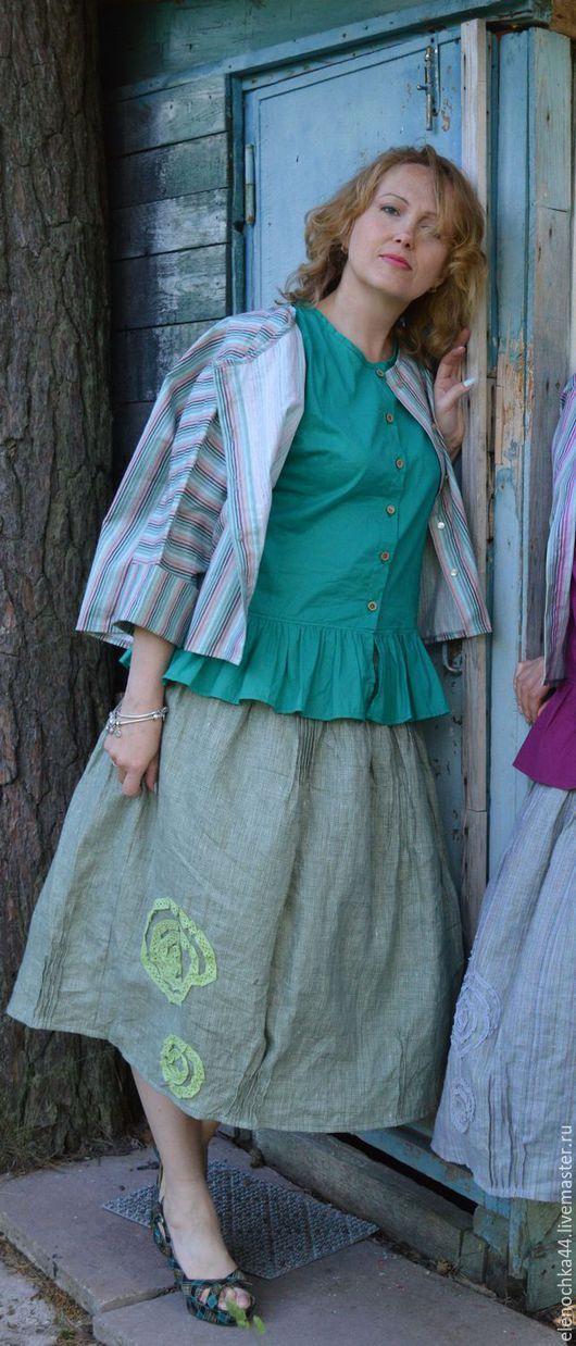 """Блузки ручной работы. Ярмарка Мастеров - ручная работа. Купить Рубашка+топ """"Полоска-зелень"""". Handmade. Зеленый, летняя одежда"""
