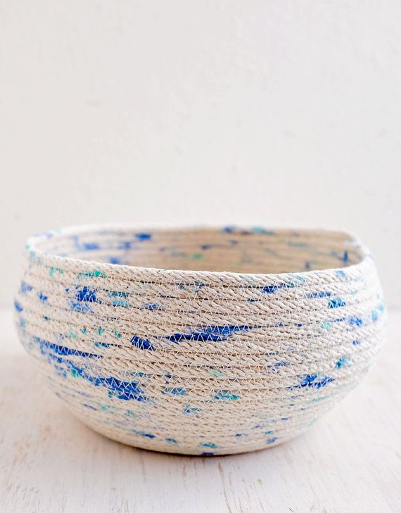 Handmade, Hand Painted Rope Basket, Mediterranean, Large