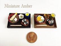 【再販×4】 ミニチュアフード 選べる 天ぷら蕎麦 or きつねうどん