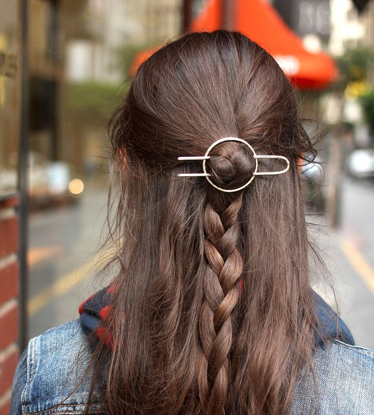 Accessorize your tresses with this minimalist metal hair barrette. Each one is hand hammered in silver, copper or brass, the thick wire sturdy enough to hold up even thick and heavy hair: