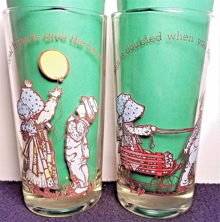 American Greetings Holly Hobbie Set of 2 Vintage 1978 Glasses #HollyHobbie