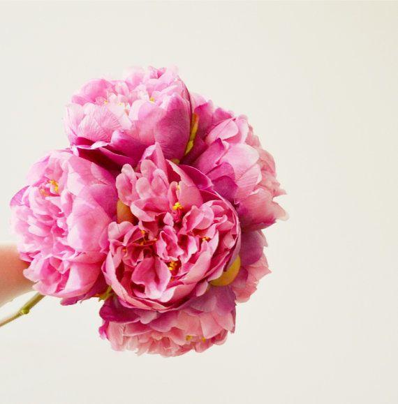 fuchsia pink peony bouquet  medium size  8 by blueorchidcreations, $75.00