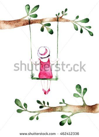 Spring Girl - Illustration. Watercolor Background. Colorful Abstract Texture. Watercolor Girl With Flowers. Mother'S Greeting Card. Valentine'S Day Background. Girl On Swing.  @knyshksenya