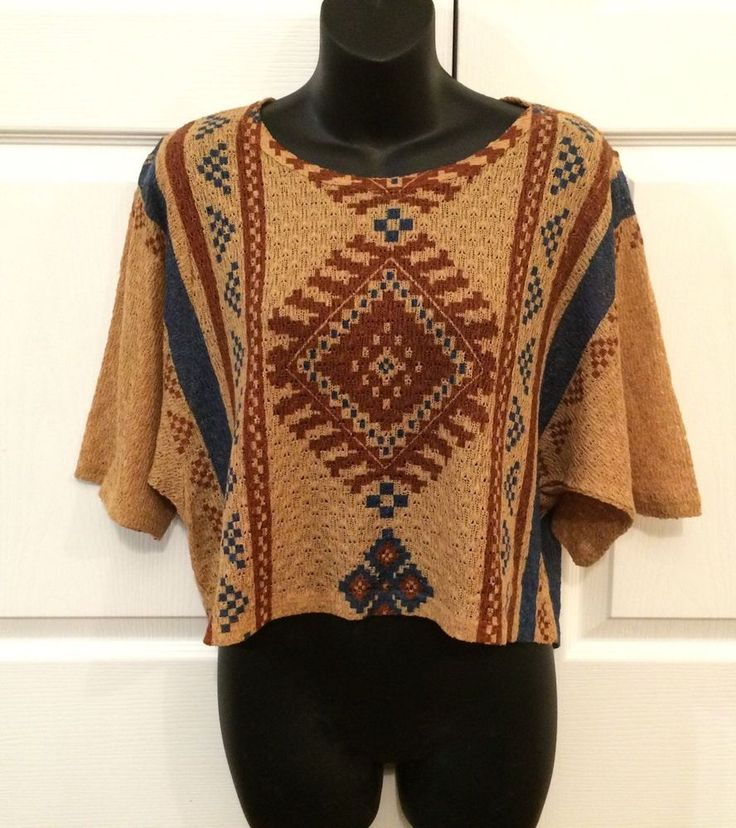 Women s Aztec Tribal boho chic Indie lightweight KNIT top shirt Blouse
