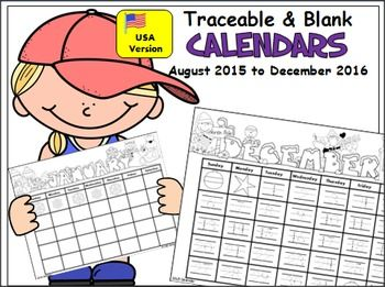 This monthly calendar set includes both blank and traceable templates for your students.*USA Holidays Version*Includes all the months from August 2015 to December 2016, and I plan to update it yearly.PreK and Kindergarten students will enjoy creating their own calendars using the traceable templates.
