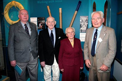 Carl Halvorsen (right) with his siblings at opening of Halvorsen exhibition, 2004