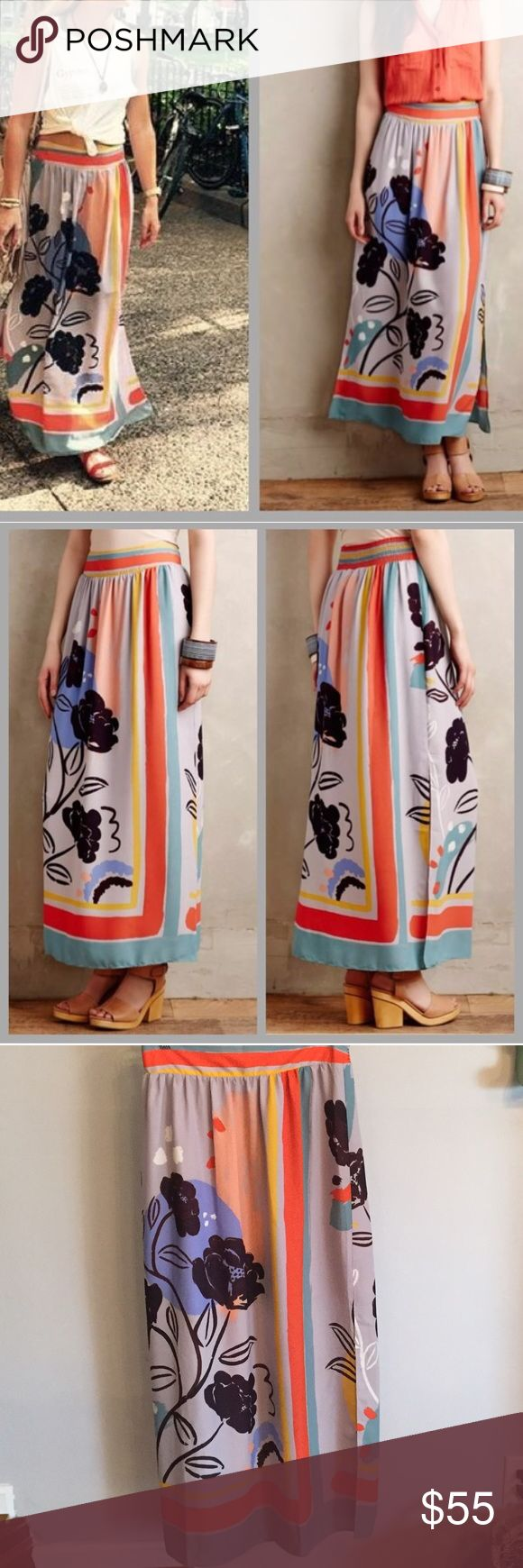 """Plein Air maxi skirt Maeve maxi skirt with absolutely beautiful colors. Inside lining, poly overlay. Two slits in each side make this flowy and light for spring or summer. The front waist is flat and the back is elastic. Waist measures 15"""". Length is 41"""" Anthropologie Skirts Maxi"""