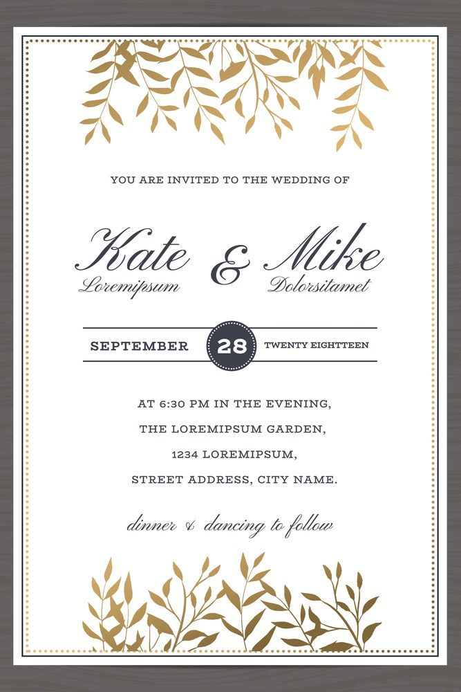 Wedding Invitation Card Template With Golden Color Flower Floral Background Vector Illustration Weddinginvitation