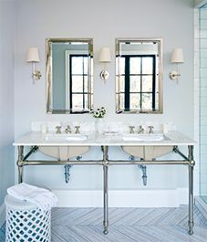 A pretty Parisian bathroom with hints of sparkle and shine.