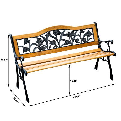 Cast Iron Garden Bench Floral Park Chair Outdoor Porch Hardwod Seat Furniture  #Outsunny