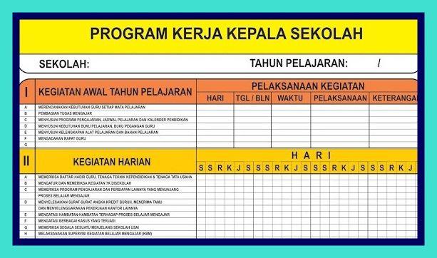 Program Kerja Kepala Sekolah Excel Kepala Sekolah Sekolah Pendidikan
