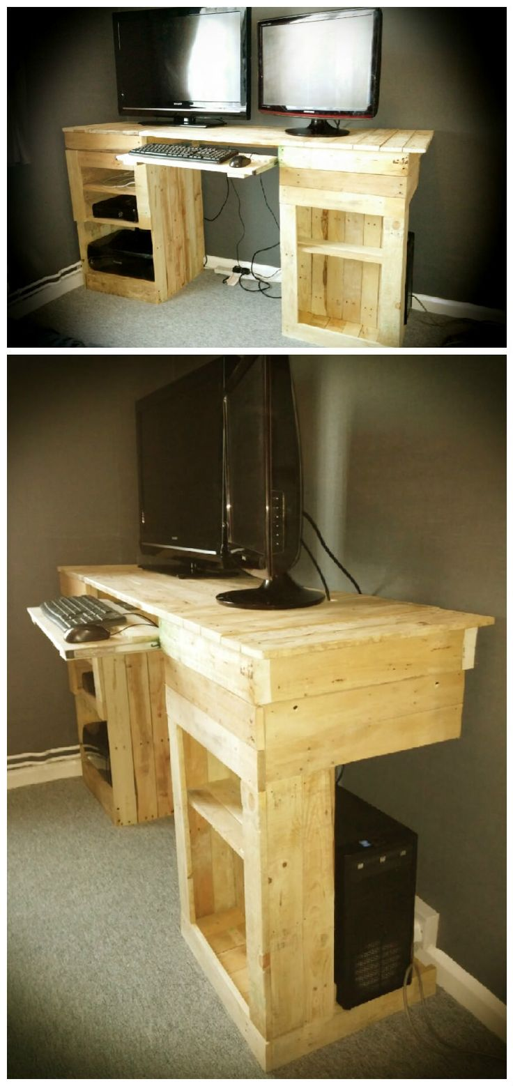 Entertainment desk for my eldest 2 consoles and PC, entirely made from reclaimed pallets.