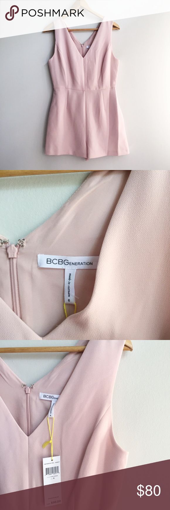NWT BCBGeneration light pink vneck romper size 6 NWT- never worn, EXCELLENT condition! Size 6- true to size for BCBGeneration! I usually wear a small-medium and am a 34D and this fits me like a glove! Bought for my sisters wedding rehearsal dinner but ended up not wearing it because it was chilly out and wore a maxi instead! Bought for $98 THIS season! Super flattering and classy look :) wardrobe statement. BCBGeneration Dresses Mini