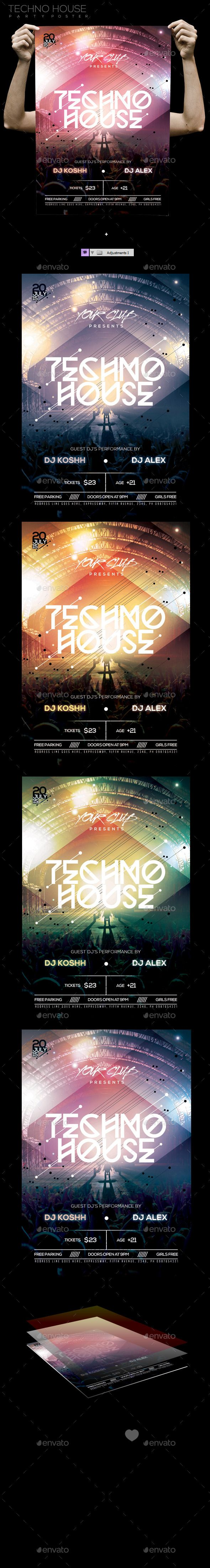 Techno House Party PSD Template