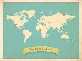 Wereldkaart - My Roots (blauw) | Landkaarten | Gras onder je voeten | Children Inspire Design | World Map