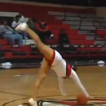 WATCH: College cheerleader nails amazing half-court tumbling trick shot | Sports Top Stories