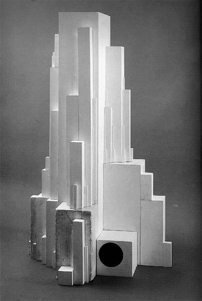 From 1923 to 1928, Malevich produced a series of plaster sculptures that he referred to as Architectons. These sculptures are compositions of white ceramic blocks and represent imaginary buildings. The architectons always feature a large rectangular block to which other smaller blocks or surfaces connect. In some ways these works can be seen as a three-dimensional application of suprematism.