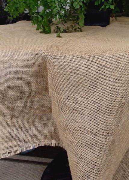 "Square Jute Fabric with Unfinished Fringe Edge 64"" Square"
