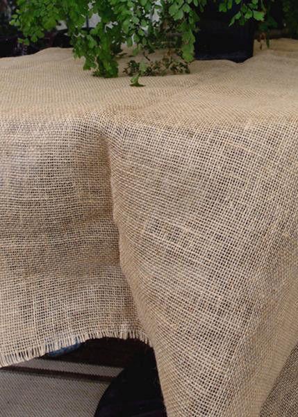 "Square Jute Fabric with Unfinished Fringe Edge 64"" Square"