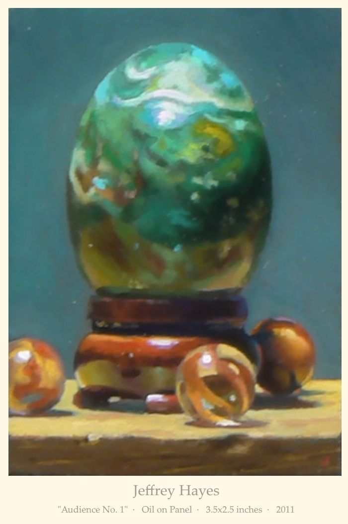 """Jeffrey Hayes: """"Audience No. 1""""  ·   Oil on Panel  ·   3.5x2.5 inches  ·   2011"""