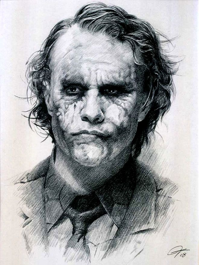 The Joker- Heath Ledger. Really great drawing of him. This is really a dedication to what a great artist he is