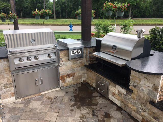 012 012 Outdoor Kitchen Backyard Kitchen Wood Pellet Grills
