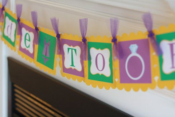 """Purple Gold and Green Mardi Gras New Orleans Theme Bridal Shower Bachelorette Party """"Bride to Be"""" Banner - Ask about our Party Pack Special"""