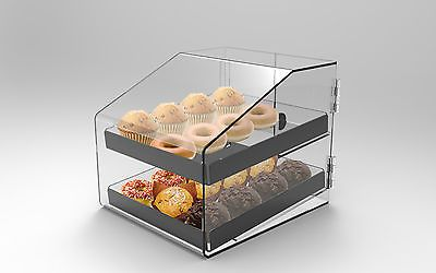 Bakery Display Case 2 Tray Acrylic*Perspex*Clear Nutella Donuts, muffins, cakes