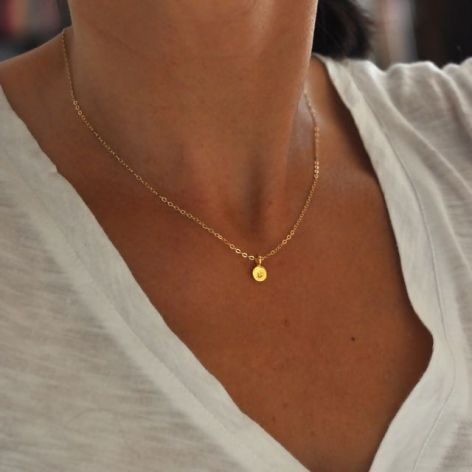 Tiny Gold initial necklace for Saylor or Chap
