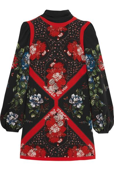 Alexander McQueen - Printed Silk Crepe De Chine Mini Dress - Black - IT40