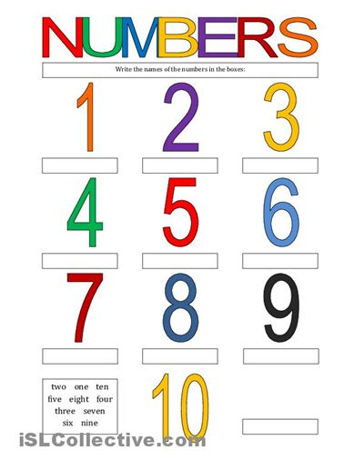 spanish worksheets for kindergarten Numbers 110