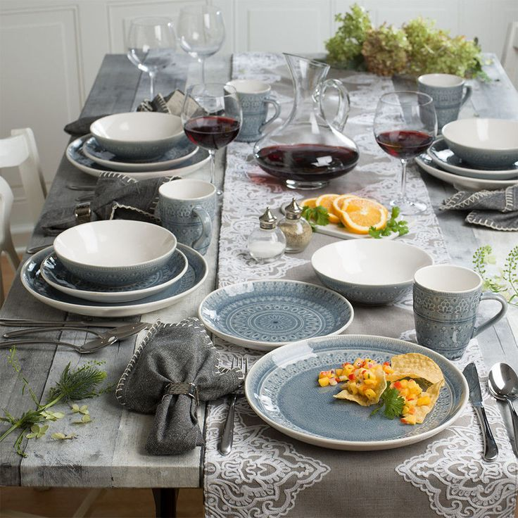 Fez 16 Piece Dinnerware Set in Gray by EuroCeramica #EuroCeramica