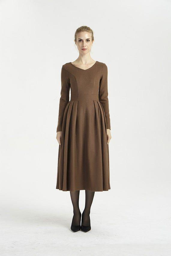 midi dress wool brown dress long sleeves dress pleated etsy