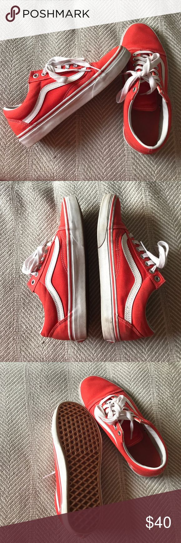 Bright coral vans. These are so bright and perfect for summer! They've only been worn twice and have hardly any wear at all on them. Very comfortable for all my Vans lovers! Vans Shoes Sneakers