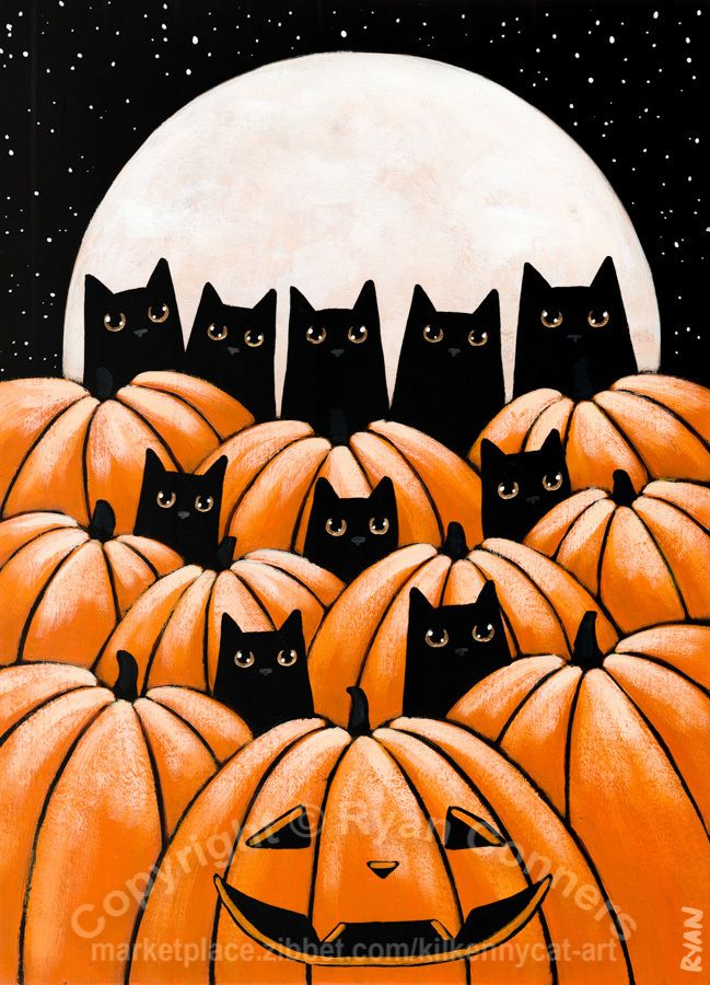 Black Cats In The Pumpkin Patch Original Halloween Cat Folk Art