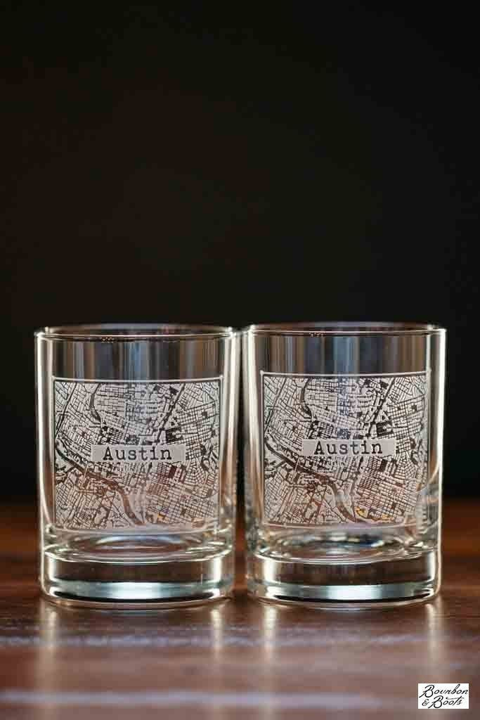 College Town Alumni Etched Map Glasses