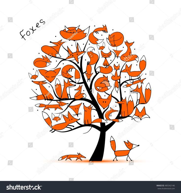 Fox family, art tree for your design