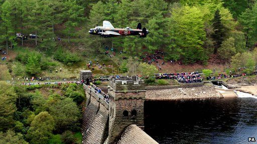 Lancaster bomber flypast during the 70th Anniversary of the Dambusters celebration in the UK