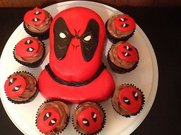 Deadpool Cake And Cupcakes July 2014 Birthday