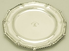 A fine antique early Victorian English sterling silver dinner plate; part of our silverware collection  http://www.acsilver.co.uk/shop/pc/Sterling-Silver-Dinner-Plate-Antique-Early-Victorian-189p1626.htm