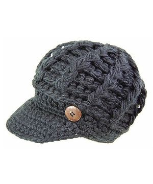 Gray Cable-Knit Brimmed beanie