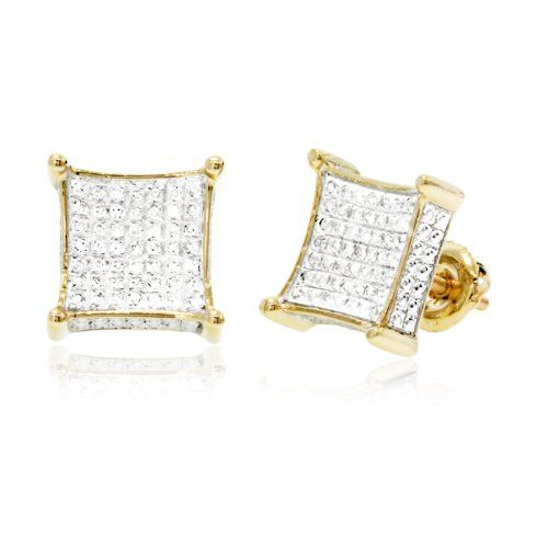 Ct White Round Brilliant Cut Diamond Micro Pave Setting Square Men S Stud Earrings In