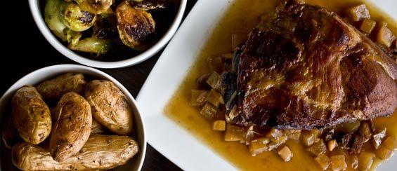 braised wild boar shoulder w/ roasted fingerling potatoes ...