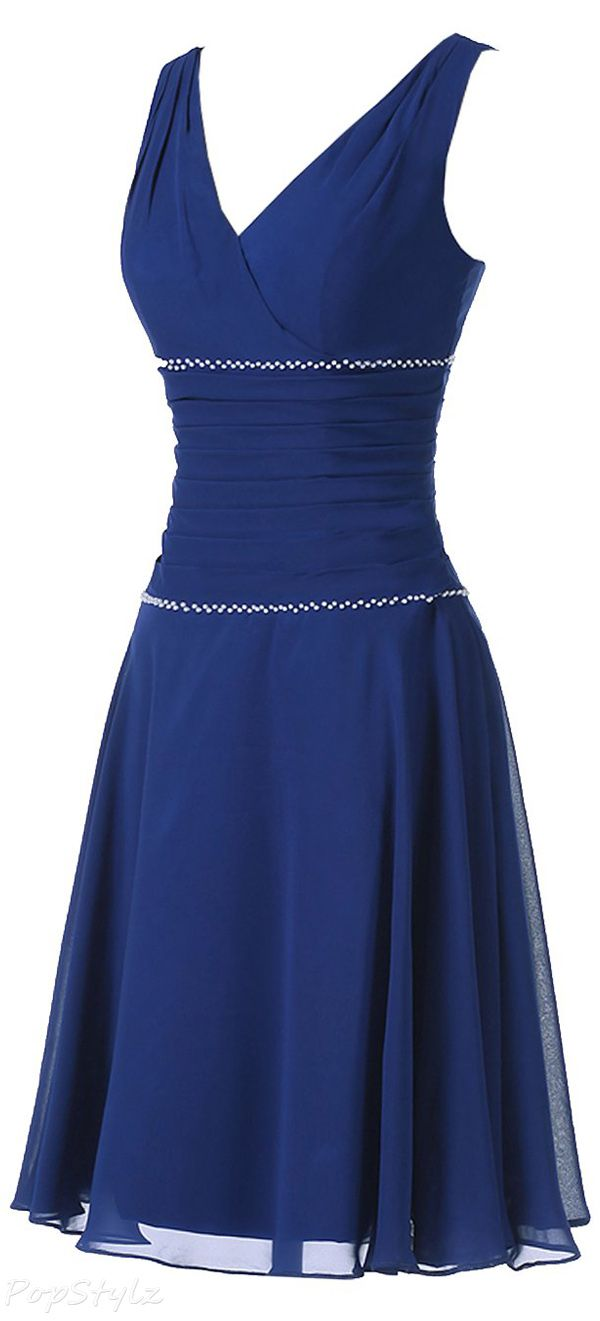 Sunvary Modest V Neck Evening Dress