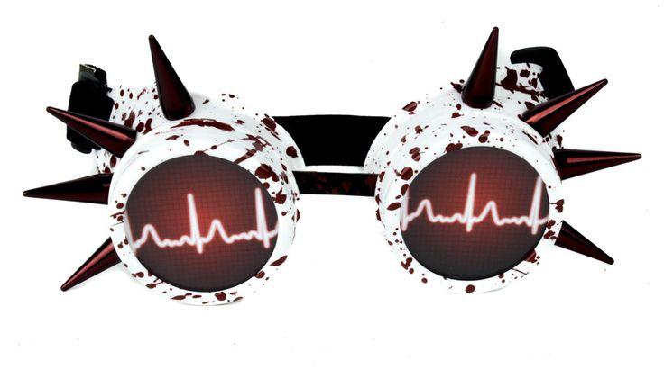 Blood Splatter Medical Heart Rate Goggles Spike Cosplay Glasses