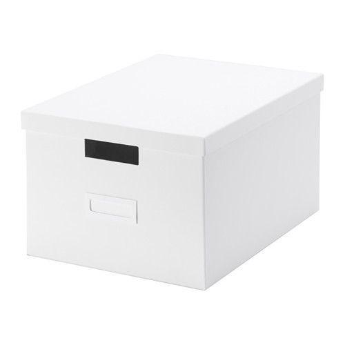 IKEA - TJENA, Boîte avec couvercle, blanc, , Idéal pour les documents, photos ou autres souvenirs.Facile à tirer et à soulever car elle est solide et dotée de poignées prédécoupées.Utilisez le porte-étiquette inclus pour avoir facilement un aperçu du contenu de la boîte et rapidement trouver vos affaires.